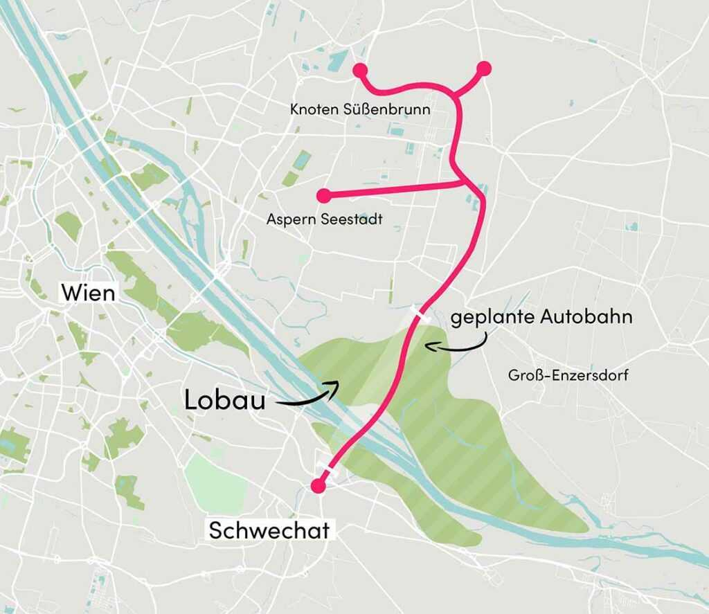 LobautunnelMap Wien und Autobahn